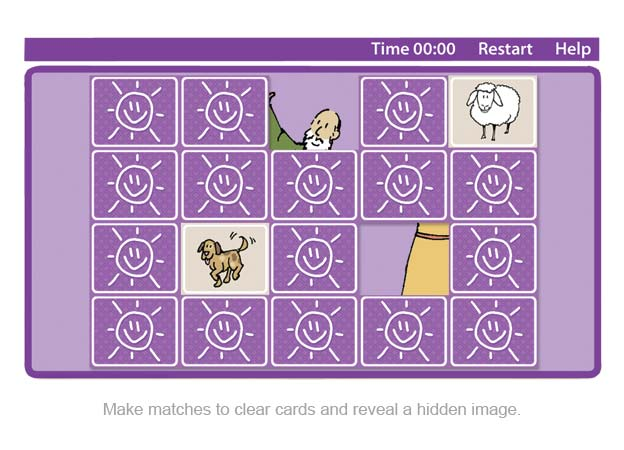 Make matches to clear cards and reveal a hidden image.