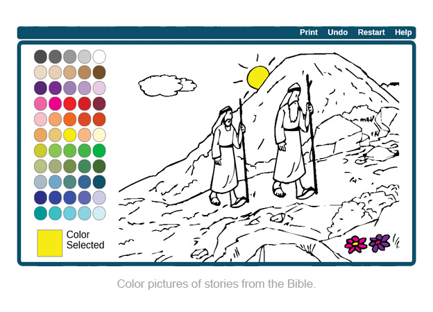 Color pictures of stories from the Bible.
