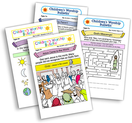Children's Worship Bulletins provide a variety of bible scripture activities