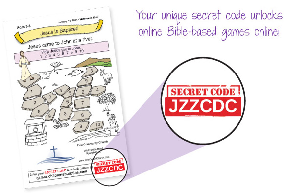 Children's Worship Bulletins has secret codes that unlock online Bible-based games