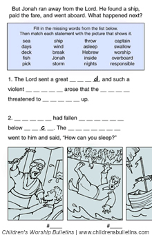 Sunday school activity about Jonah for ages 7-12