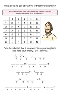 Printables Bible Worksheets For Kids bible study activities for kids childrens worship bulletins love your enemies kids